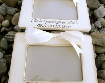 Set of 2 Ultrasound Grandparent Picture Frames  Sonogram New Baby Announcement,  4x6 The Best Parents Get Promoted to Grandparents