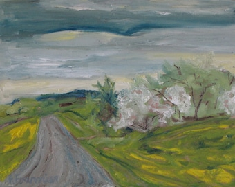 """Art Plein Air Landscape Oil Painting Original Impressionist Abstract Appalachian Spring Blossom Yellow Quebec Canada """" Spring Country Road """""""