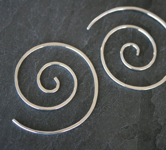 Spiral Earrings Sterling Silver, Swirl Shaped Spiral Wave, Koru Spiral, Solid Sterling Silver, Swirling Silver Simplicity, Minimal Zen Swirl