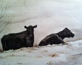 Painting no. 57  Snow Cows-- print 8 x 10
