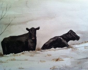 Painting no. 57  Snow Cows-- print 8 x 10
