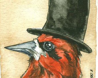 ACEO signed PRINT - Red Breasted Top Hatted Sapsucker-