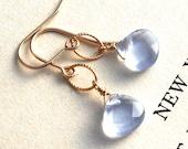 Drop, Dangle Earrings, Aqua Quartz Drop Earrings, 14k Gold Filled Earrings, Weddings, Drop Earrings, Blue Quartz Earrings