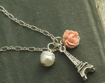 Eiffel Tower Necklace, Paris Necklace, Silver, Paris Charm Necklace, Silver Eiffel Tower Necklace, Pink Rose Necklace