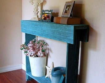 Wood Blue Console Table. Entry Table. Comes in Different Colors. Blue Ocean Cedar Skinny Wall Table. Rustic Furniture. 30x7x30
