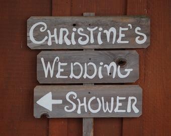 Bridal Shower Sign Wedding Sign Romantic Outdoor Wedding Gift Planner Reclaimed Wood. Rustic Weddings. Vintage Weddings. Arrow Road Signs.