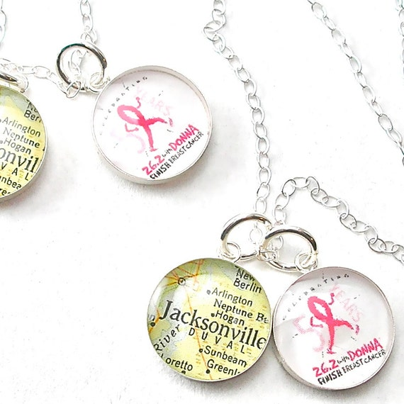 Runner Girl Petite Vintage Map and Marathon Logo Sterling Silver 16 inch Necklace.