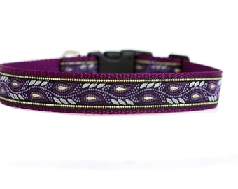 1 Inch Wide Dog Collar with Adjustable Buckle or Martingale in Purple Mountain Majesty