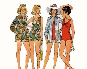 70s one piece or two piece swimsuit beach resort vacation holiday cover up vintage sewing pattern Simplicity 6356 Bust 34