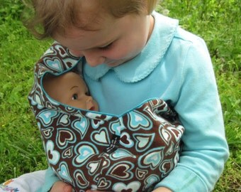 Child's Toy Sling for dolls, too - Brown and Turquoise hearts