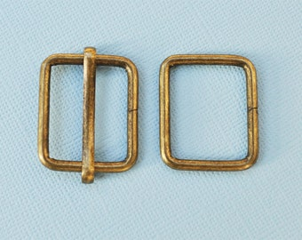 FREE SHIPPING--20 sets, 1 inch Anti Brass Rectangle Strap Sliders and 1 inch Anti Brass Rectangle Rings