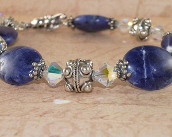 Blue Bracelet, Sodalite,  Swarovski Crystal, Sterling Silver, Handmade Jewelry, DDurda