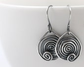 All Sterling Silver Earrings, Dangle Earrings, Oxidized Silver Jewelry, Spiral Earrings, Stocking Stuffer