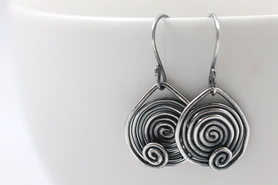 Ready to Ship, All Sterling Silver Earrings, Dangle Earrings, Oxidized Silver Jewelry, Spiral Earrings, Stocking Stuffer