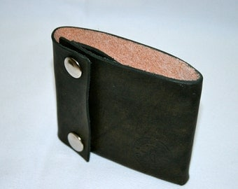Leather Wallet with Snap - Black