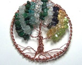 Copper Family Tree brooch pin or necklace pendant - Personalized gem tree of life sculpture - gemstone birthstone  mothers day birthday gift