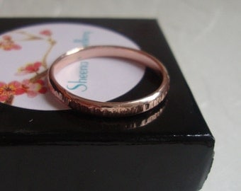 Rose gold bamboo ring in solid 10k rose gold, womens gold ring, thin gold ring, hammered gold band