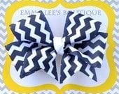 Navy Blue Chevron Hair Bow