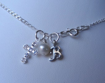 Birthstone Cross Initial Children Girl Necklaces, Initial Necklace, Birthstone Necklace, First Communion, Confirmation,Cross Pearl Necklace