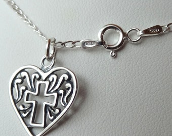 Sterling Silver Fancy Heart Cross Necklace,  First Communion, Confirmation, Baptism, Christening
