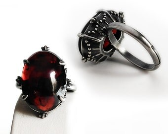 Dark Red Garnet ring // Οxidized Silver adjustable band with Red gemstone // Engagement ring Gothic jewelry