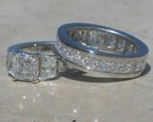 Diamond Ring, Asscher Cut Diamond and Trapazoid Diamond Wedding Set in Platinum - LS1691