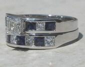 Diamond Engagement Ring, Asscher Cut Diamond Wedding Set with Channel Set Blue Sapphires and Diamonds - LS1710