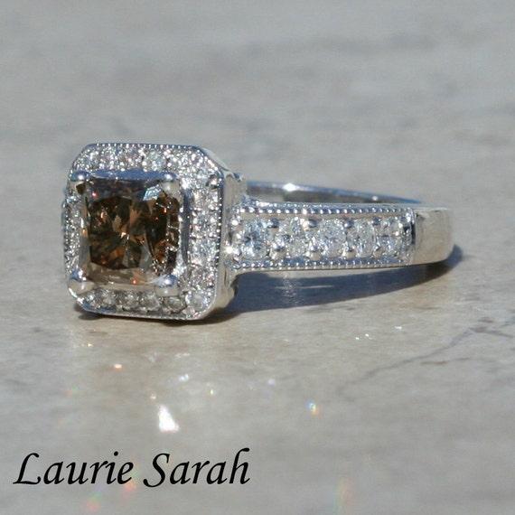 Diamond Engagement Ring, Fancy Brown Princess Cut Diamond Engagement Ring with milgrain - LS1777
