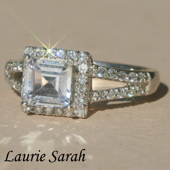 White Sapphire Engagement Ring Asscher Cut by ...