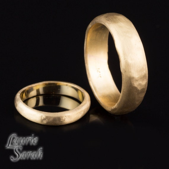 Wedding Bands, 14kt Yellow Gold His and Hers Hammered Wedding Band Set - Organic feel - LS2219