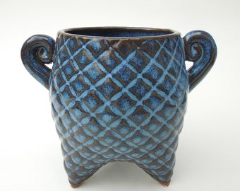 Blue Textured Dark Plaid Handmade Ceramic Pottery Sugar Jar Flower Vase