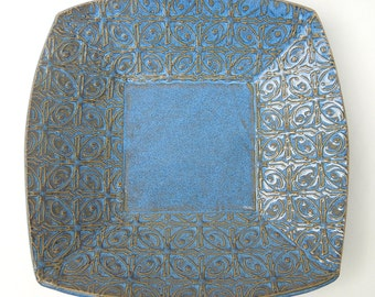 Large Blue Textured Tin Roof Handmade Ceramic Pottery Serving Plate Bowl