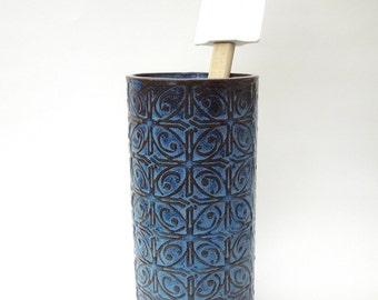 Dark Blue Textured Tin Roof Handmade Ceramic Pottery Utensil Holder Flower Vase