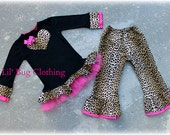 Valentines Leopard Hot Pink Tulle  Heart Tee And Leopard Pant Outfit Custom Boutique Girl Clothes