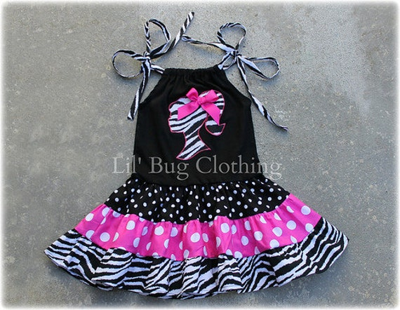 Barbie Girl Dress, Birthday Party Barbie Girl Outfit, Zebra Pink Dot Barbie Dress, Custom Boutique Girl Clothes