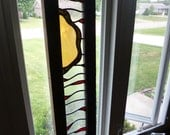 OOAK Stained Glass Panel in Salvaged Antique Church Transom Frame