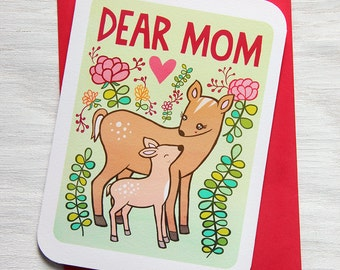 Mothers Day Card - Dear Mom - Woodland Deer - Card for Mom