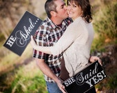 Wedding Photo Prop, he asked, she said yes, engagement photo shoot, wedding day photo prop Mr and Mrs signs