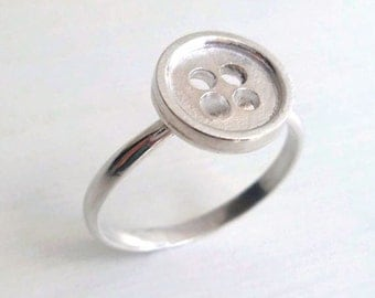 Silver Button Ring - Button Ring - Cute Button Ring - Sewing Inspired - Button Jewelry - Gifts for Her - Gifts under 35 - Made in Brooklyn