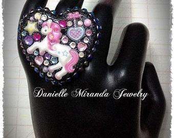 Fantasy Unicorn Pony Fairy Kei Kawaii Collage Sparkle Heart Ring