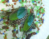 Aqua polka dot, feather earrings with wire wrap spirals, cruelty free feathers F1