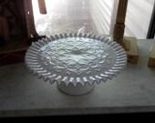 Vintage Fenton Spanish Lace Cake Plate