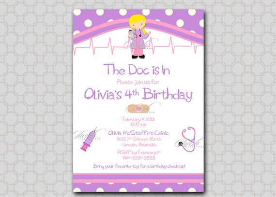 Doc McStuffin Invite Doctor themed Birthday Invitation --- 5x7 digital girl printable party