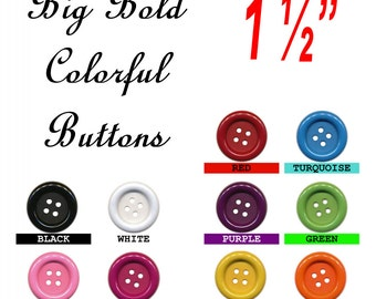 """12 BUTTONS - 1 1/2"""" - BIG BUTTON Embellishments - 38mm"""