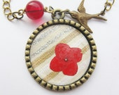 red flower necklace - bird necklace - real flower necklace - pressed flower - flower pendant - statement necklace