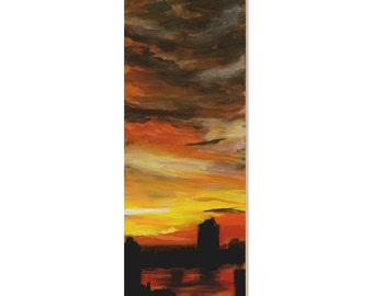 Across The Hudson,  An Original Landscape Painting 30 by 10 inches