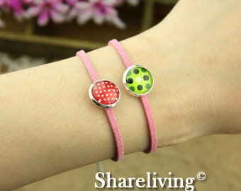 4pcs Bangle Bracelet With 12mm Round Silver  Cameo Setting (Pink) -- RI854E