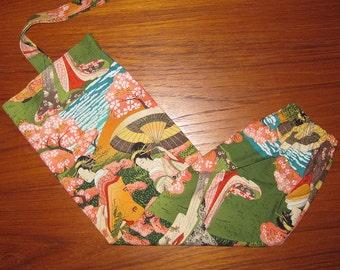 Grocery Store Plastic Bag Dispenser Asian Japanese Fabric Geisha and Cherry Trees Design