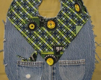 Boys Cute John Deere Farmer Western Recycled Denim Cowboy Baby Bib