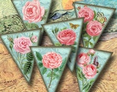 PiNK RoSES on Aqua Blue- Pennants/BuNTING -Shabby Posh Banner -Printable Collage Sheet JPG Digital File -BuY ONe GeT ONe FREE